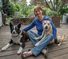 Trainer Julie with her two dogs